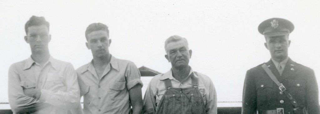 Bert Belknap with his sons, Bill, Ken and Elbert (in uniform) – All Well Drillers